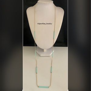 Plunder Joan Necklace Seafoam rods on gold chain